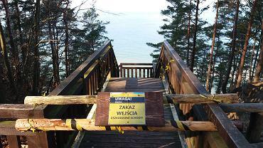 Międzyzdroje. Zamknięte schody z Kawczej Góry na plażę