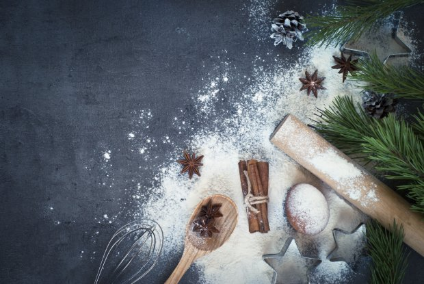?Ingredients for cooking Christmas baking. Top view, copy space.8BIM8