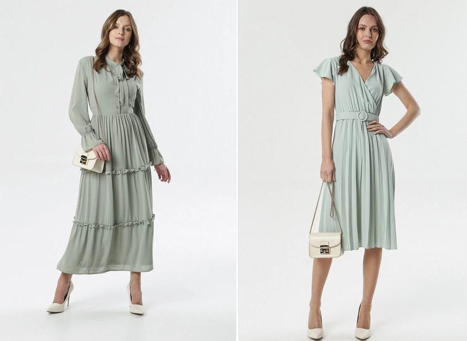 Sukienki w odcieniach miętowego