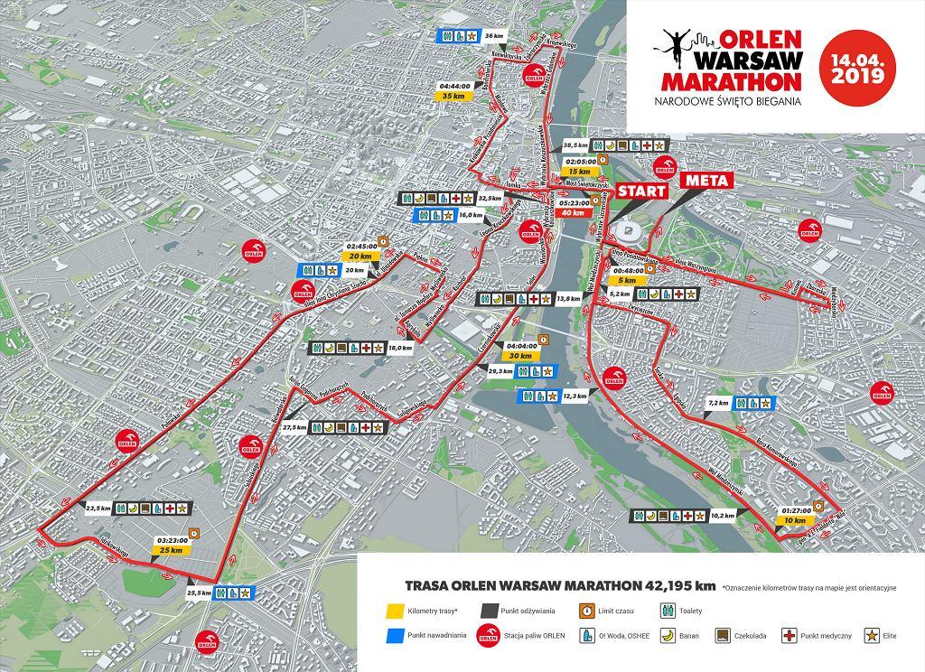 Trasa Orlen Warsaw Marathon 2019