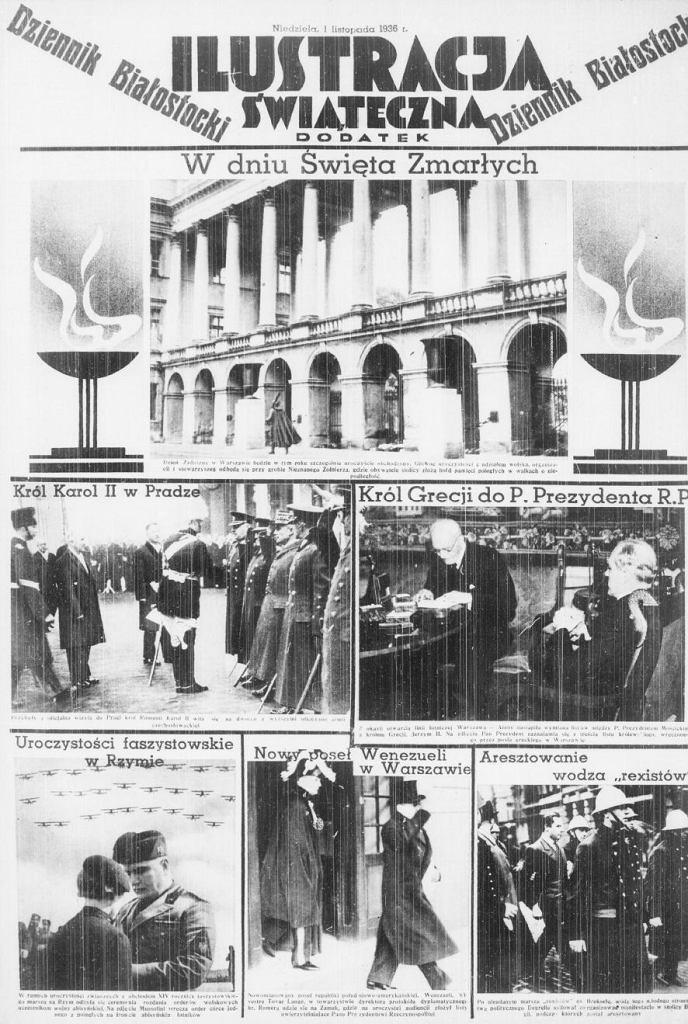 Dziennik Białostocki, wydanie z 1 listopada 1936. Wkładka Ilustracja Świąteczna
