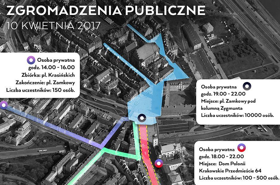 Mapka zgromadzeń 10 kwietnia