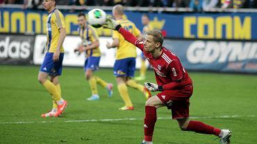 Arka Gdynia - Sandecja Nowy Sącz 0:0. Bramkarz Arki Jakub Miszczuk