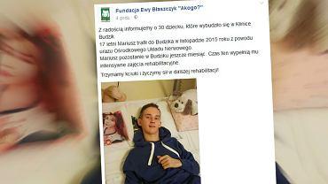 17-letni Mariusz wybudzony ze śpiączki