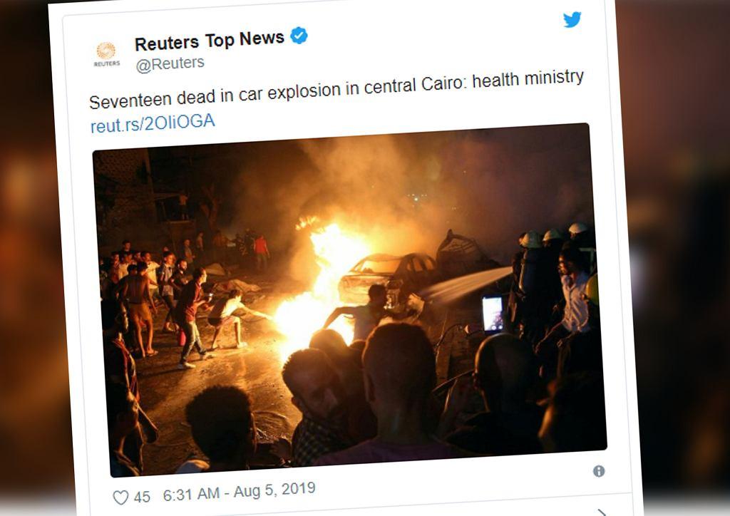 Egipt: Eksplozja samochodu w centrum Kairu. Nie żyje 17 osób