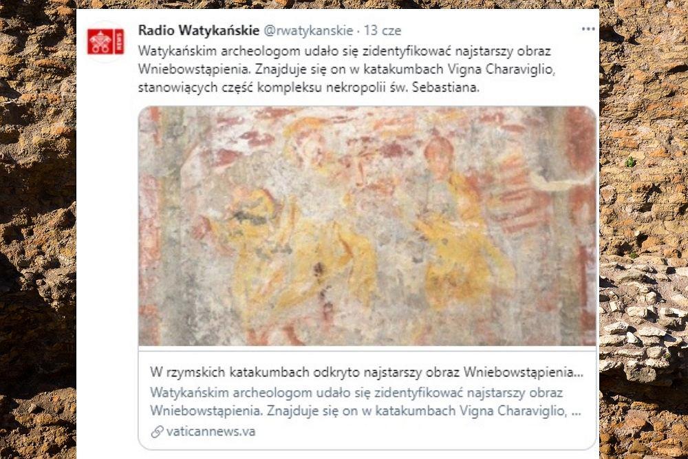 Najstarszy obraz Wniebowstąpienia odkryto właśnie w rzymskich katakumbach