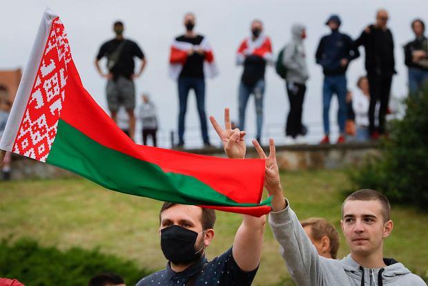 12.08.2020, Mińsk, protest przeciwko wynikowi wyborów prezydenckich.