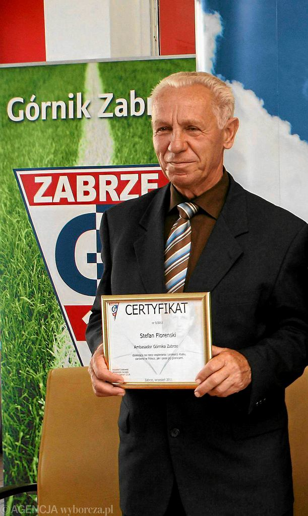 Stefan Florenski podczas wizyty w ukochanym Górniku Zabrze w 2011 roku