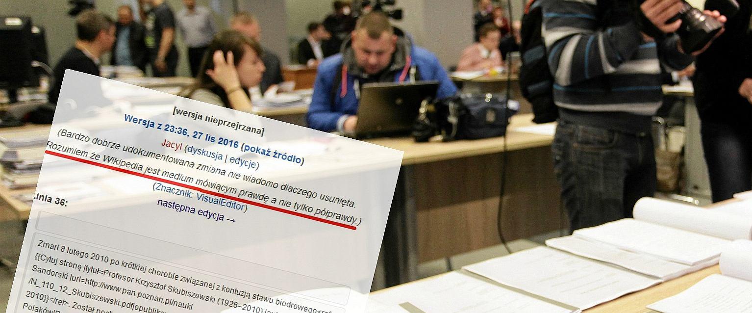Czytelnia IPN i fragment artykułu z Wikipedii (fot. Sławomir Kamiński/AG)