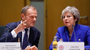 Donald Tusk i Theresa May na szczycie UE ws. brexitu