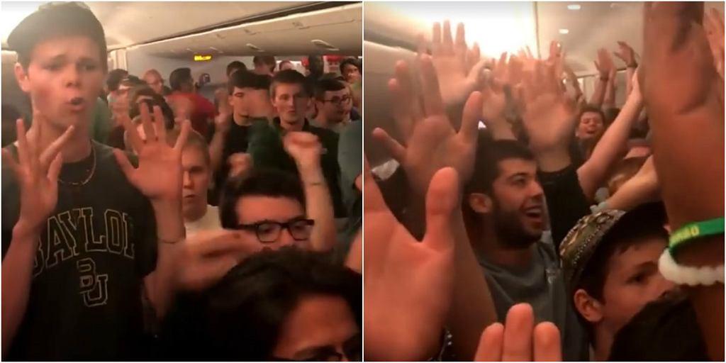 Podziękowali śpiewem pilotom samolotu za bezpieczny lot.