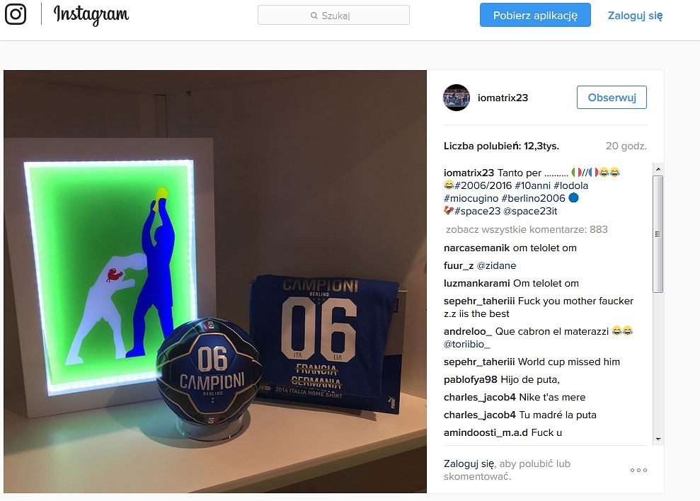 Screen z konta Instagrama Marco Materazziego
