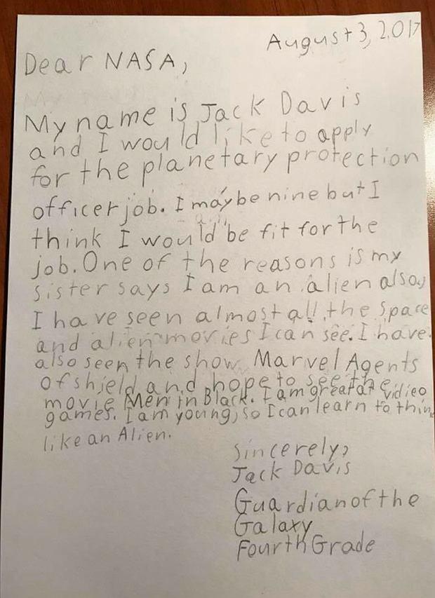 List dziewięcioletniego Jacka do NASA