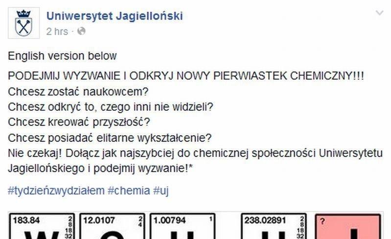 Nietypowa promocja Uniwersytetu Jagiellońskiego na Facebooku