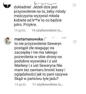 Komentarze pod postem Marty Manowskiej