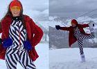 Kinga Rusin pozuje na stoku narciarskim. Dziennikarka pokazała wysportowaną sylwetkę