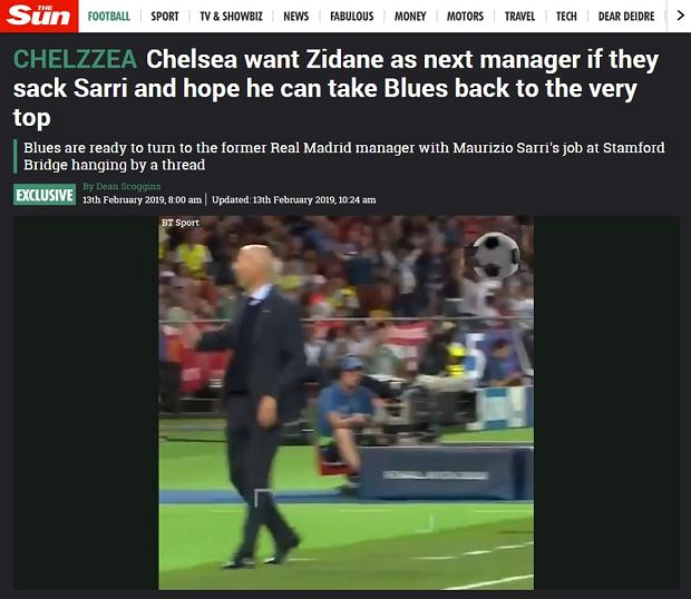 Zinedine Zidane kandydatem na nowego trenera Chelsea