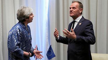 24.02.2019, Szarm el-Szejk, Egipt, Theresa May i Donald Tuski podczas szczytu przywódców Unii Europejskiej i państw arabskich.