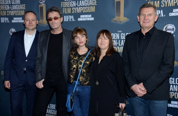 Producer Christian Falkenberg Husum, director Pawel Pawlikowski, actress Agata Kulesza Fugurska, producers Ewa Puszczynska and Piotr Dzieciol, from left to right, arrive at Golden Globes Foreign Language Symposium at Egyptian Theatre on Saturday, Jan. 10, 2015, in Hollywood, Calif. (Photo by Tonya Wise/Invision/AP)