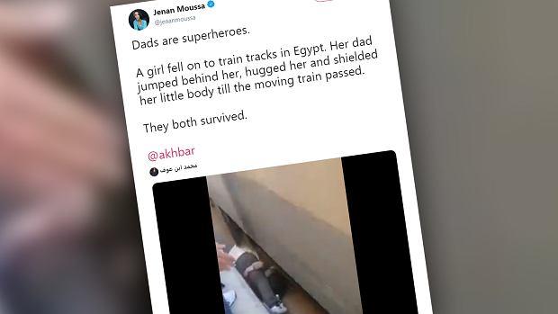 Tata ochronił córkę przed nadjeżdżającym pociągiem. Osłonił ją własnym ciałem