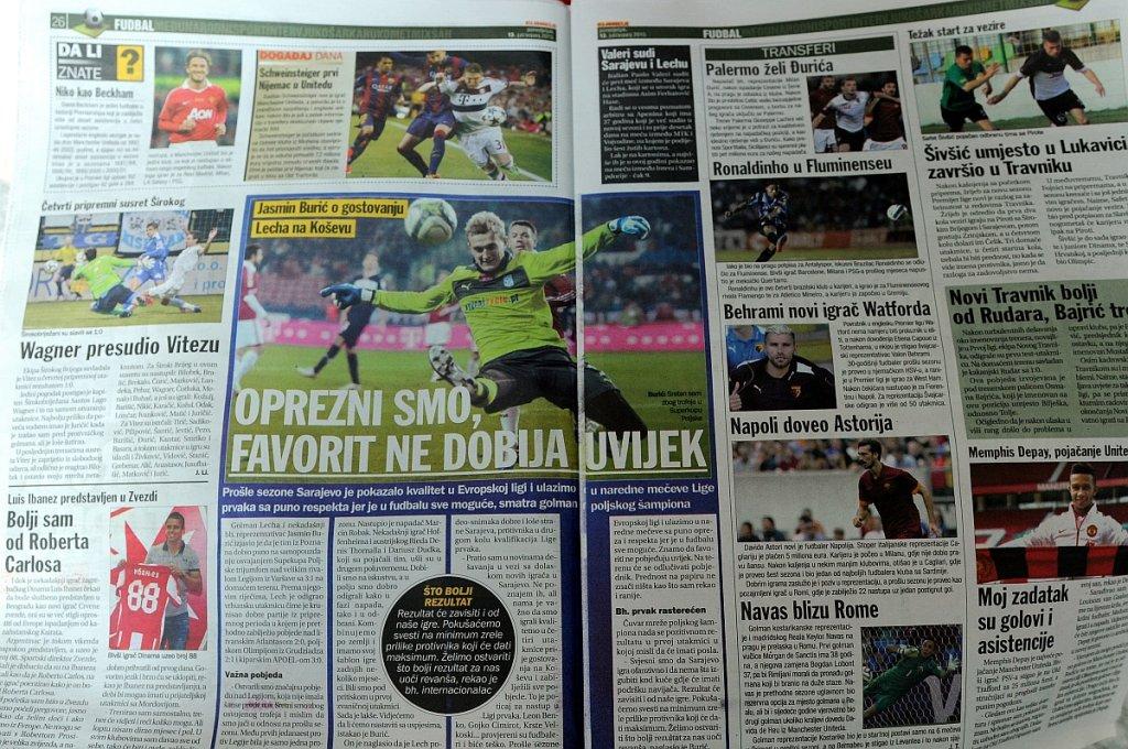 Przegląd prasy przed meczem FK Sarajevo - Lech Poznań