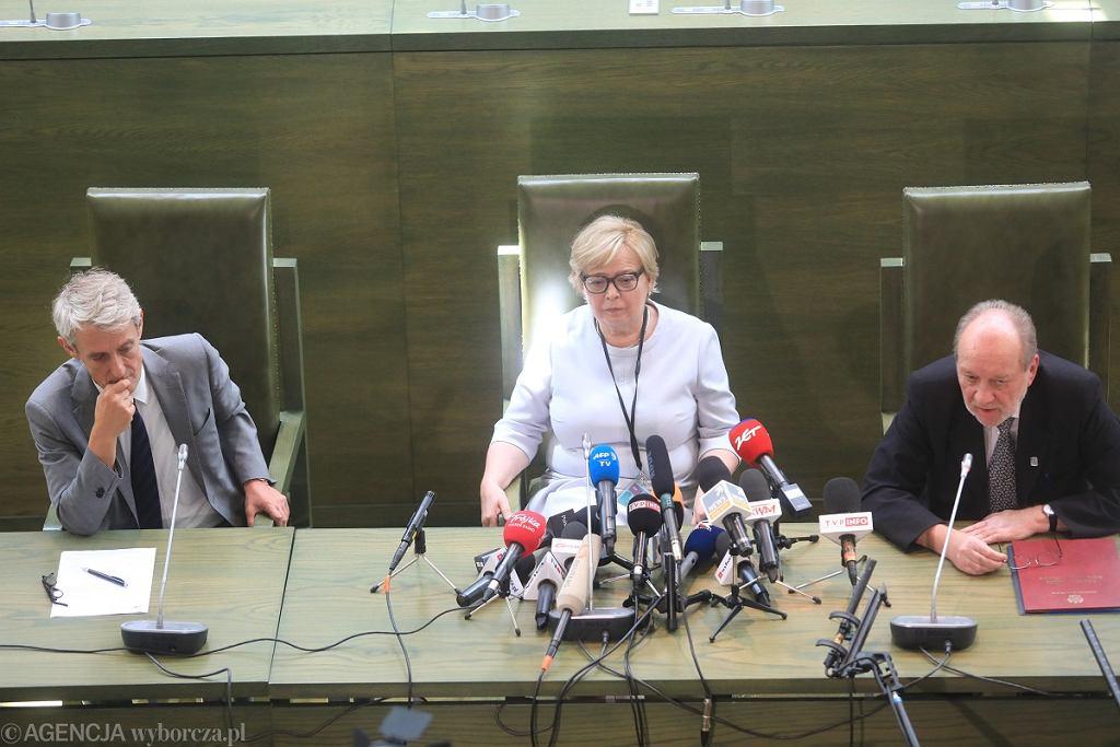 Sąd Najwyższy. Konferencja prof. Małgorzaty Gersdorf, rzecznika SN Michała Laskowskiego i sędziego Józefa Iwulskiego