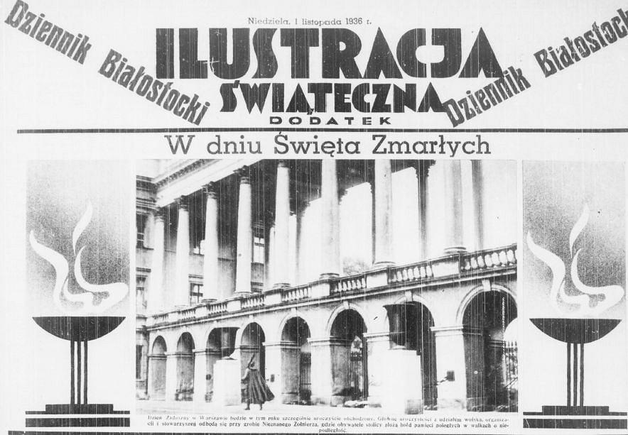 Dziennik Białostocki, wydanie z 1 listopada 1936. Fragment pierwszej strony dodatku  'Ilustracja Świąteczna'