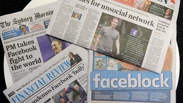 Pierwsze strony australijskich gazet z informacjami na temat Facebooka, Sydney,  19 lutego 2021.