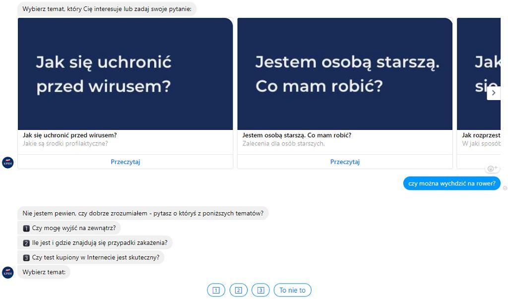 Chatbot odpowiadający na pytania o koronawirus