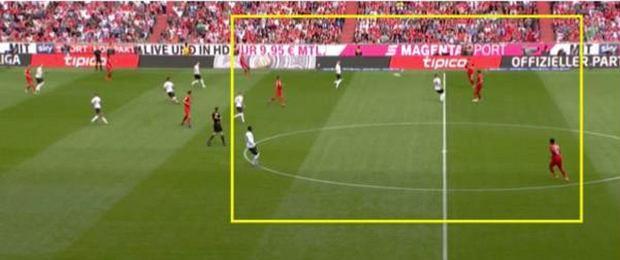 Próba doskoku pressingowe Eintrachtu, czterech graczy wyciągniętych stosunkowo wysoko, po dłuższej piłce równowaga liczebna pod polem karnym Eintrachtu