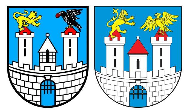 Obecnie obowiązujący herb Częstochowy z krukiem paulińskim (z lewej) i projekt nowego herbu - z orłem piastowskim