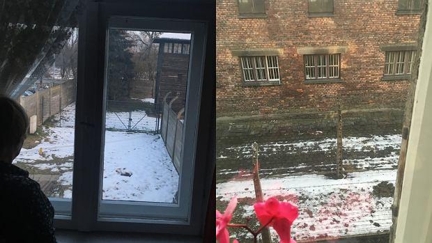 Widok z okna jednej z mieszkanek muzeum Auschwitz-Birkenau na alejki muzeum (fot: Marcin Kącki)