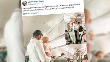 Steward pomógł uspokoić płaczące dziecko. 'Mama wyglądała, jakby zasługiwała na chwilę przerwy'