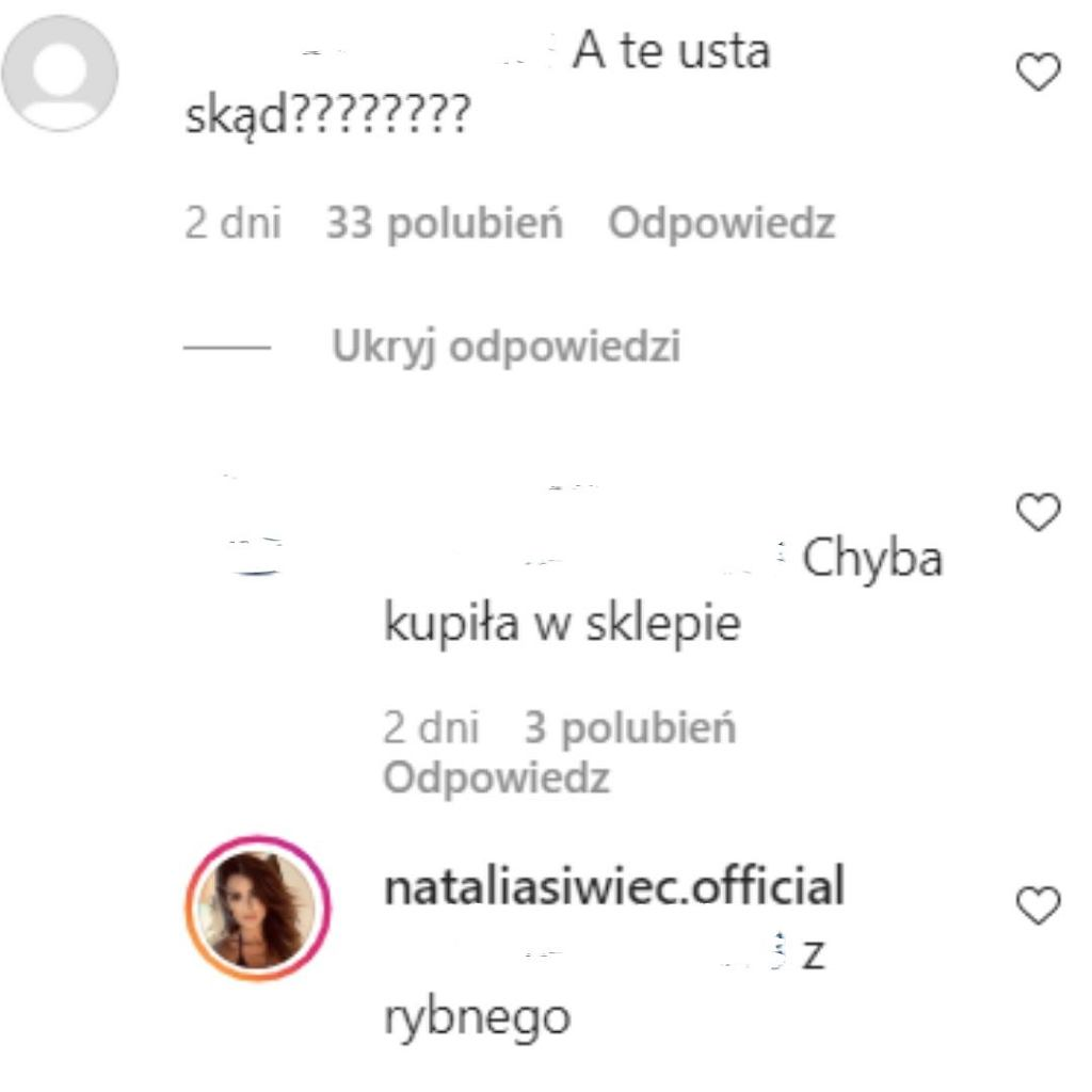 Natali Siwiec odpowiada internautce