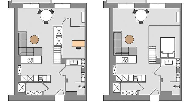 Mieszkanie na rzutach - po prawej z antresolą
