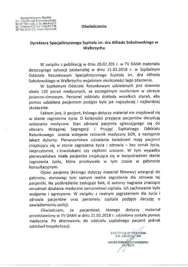 Oświadczenie Specjalistycznego Szpitala im. dra Alfreda Sokołowskiego
