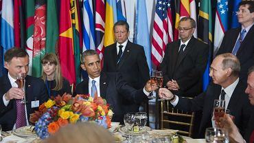 Andrzej Duda, Barack Obama i Władimir Putin na uroczystym lunchu w siedzibie ONZ w Nowym Jorku