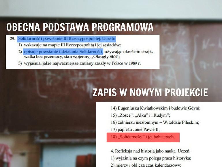 Fragmenty dot. 'Solidarności' w obecnie obowiązującej podstawie programowej oraz w nowym projekcie