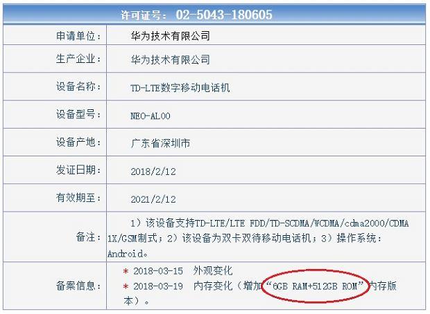 Nieznany smartfon Huawei z pamięcią 512 GB