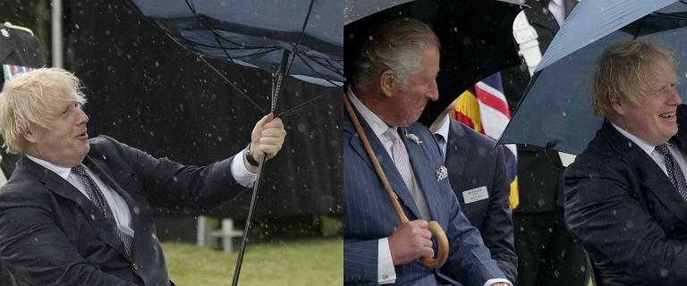 Boris Johnson walczył z parasolem, a książę Karol pękał ze śmiechu
