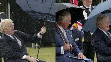 Boris Johnson walczył z parasolem. Sytuacja niezręczna, a książę Karol pękał ze śmiechu. To nagranie to hit