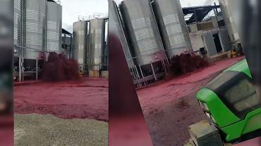 Wyciek wina w fabryce