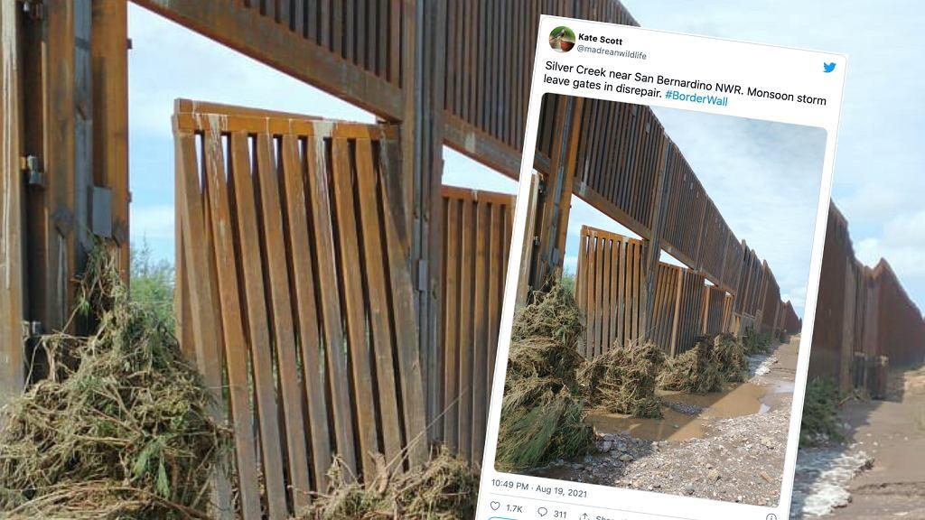Amerykańsko-meksykański mur graniczny zniszczony