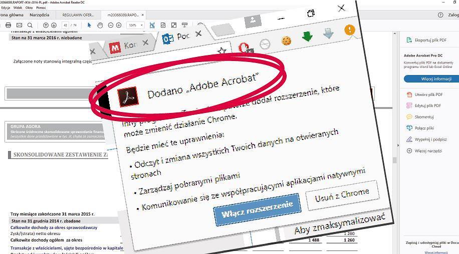 Adobe Reader wymusza instalację wtyczki Chrome