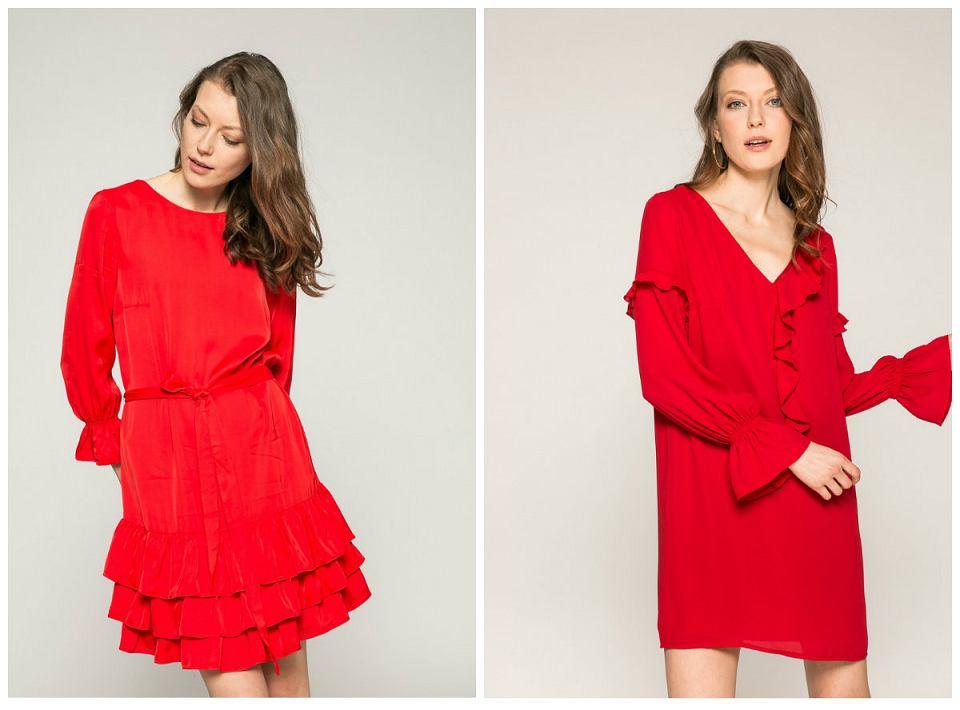czerwone sukienki z falbanami