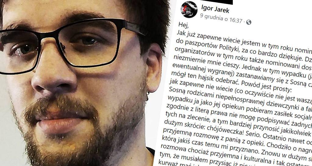 Igor Jasek nominowany do nagrody nie może jej przyjąć