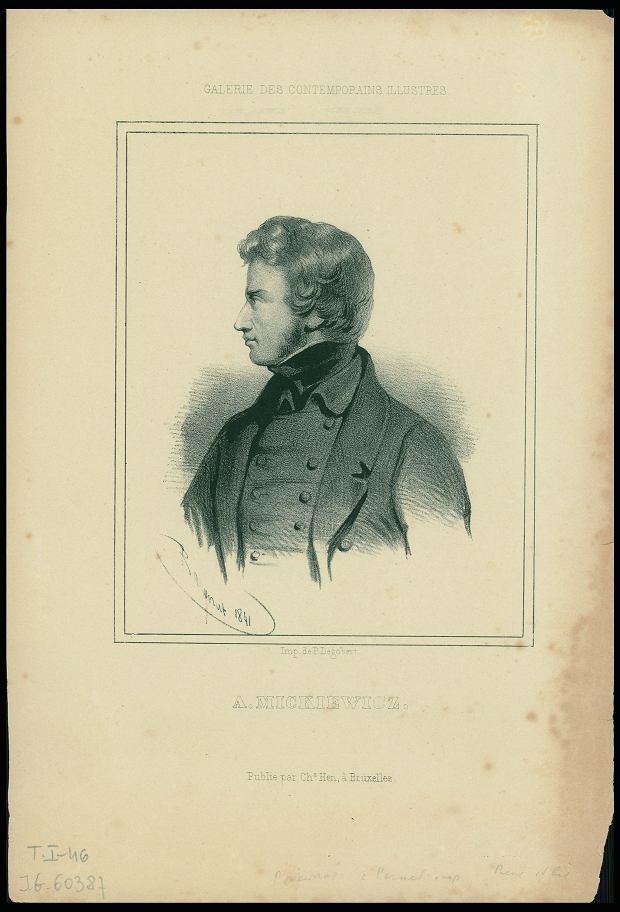 Poniżej portret młodego Adama Mickiewicza z 1841 roku (litografia Charles'a Baugnieta).