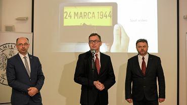 Prezes IPN dr Jarosław Szarek i wiceprezes IPN dr Mateusz Szpytma podczas konferencji Instytutu Pamięci Narodowej