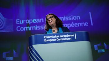 Unijna Komisarz ds. Handlu Cecilia Malmstrom na konferencji prasowej w siedzibie Komisji Europejskiej w Brukseli, 15.04.2019