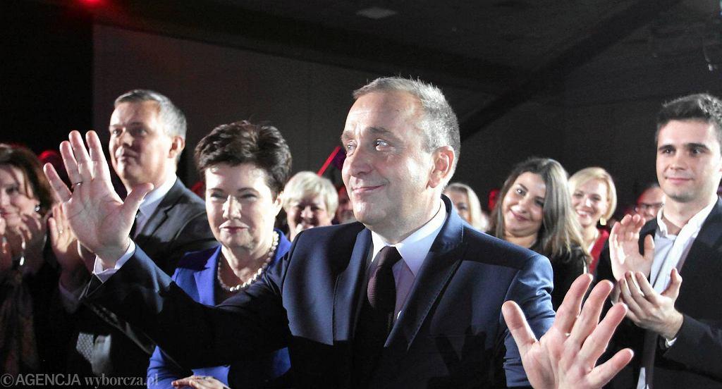 Grzegorz Schetyna po ogłoszeniu wyników wyborów na przewodniczącego Platformy Obywatelskiej. Warszawa, 26 stycznia 2016 r.